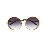 Linda Farrow Gallery Óculos De Sol Oversized Com Detalhe Zigzag - Dourado