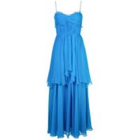 Amur Vestido Longo Com Amarração E Babados - Azul