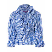 Ralph Lauren Collection Blusa Xadrez Com Babado - Azul