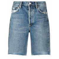 Agolde Bermuda Jeans Reta - Azul