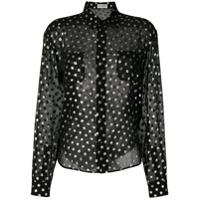 Saint Laurent Camisa De Seda Translúcida Com Poás - Preto