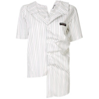 Ground Zero Camisa Listrada Com Drapeado - Branco