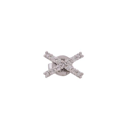 Imagem de Alinka Par de brincos 'KATIA' de ouro branco 18k com diamantes - Metálico