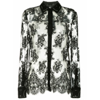 Alexander Wang Lace Shirt With All Over Grommet Detail - Preto