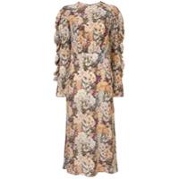 Les Reveries Vestido Longo De Seda Com Estampa Floral - Estampado
