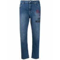 Love Moschino Calça Jeans Reta Com Estampa De Logo - Azul