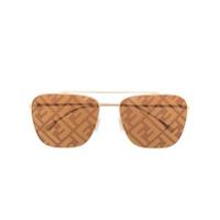 Fendi Eyewear Óculos De Sol Quadrado Com Monograma - Dourado