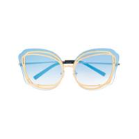 Linda Farrow Gallery Óculos De Sol Oversized Com Contraste - Azul