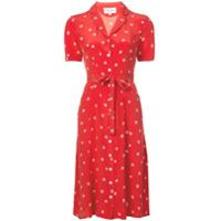 Hvn Printed Tie Waist Shirt Dress - Vermelho