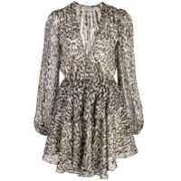 Shona Joy Vestido Com Animal Print - Preto