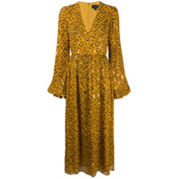 Saloni Vestido Evasê Com Estampa De Leopardo - Amarelo