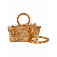 Carolina Santo Domingo Corallina Woven Clutch - Laranja