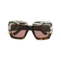 Gucci Eyewear Óculos De Sol Oversized Quadrado - Marrom