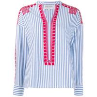 Antik Batik Embroidered Stripe Shirt - Azul