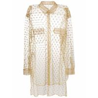 Maison Margiela Camisa Translúcida Com Brilho - Neutro