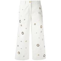 Kenzo Calça Jeans Cropped Com Ilhóses - Branco