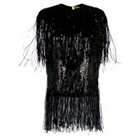 Msgm Fringed Sequinned Top - Preto