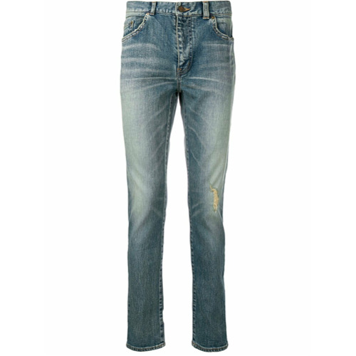 Saint Laurent Calça jeans destroyed - Azul