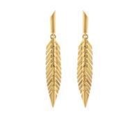 Cadar Par De Brincos De Pena Pequeno De Ouro 18K - Dourado