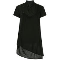 Y's Camisa Mangas Curtas Assimétrica - Preto