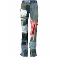Ronald Van Der Kemp Calça Jeans Flare Com Patchwork - Azul
