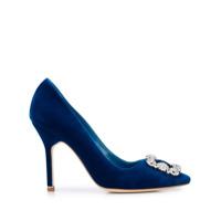 Manolo Blahnik Sapato De Salto Alto Com Fivela E Aplicação - Azul