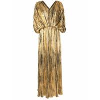 Dima Ayad Vestido Longo Evasê Com Pregas - Dourado