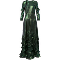 Huishan Zhang Vestido Longo Metalizado - Verde