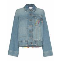 Mira Mikati Oversized Tasselled Cotton Blend Denim Jacket - Azul