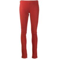 Poiret Legging De Camurça - Vermelho