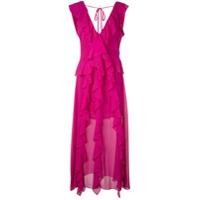 5a640626c5 Misa Los Angeles Vestido Longo Com Babado - Rosa ...