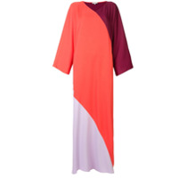 Layeur Vestido Longo Color Block - Vermelho