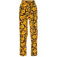Kenzo Calça Floral De Seda - Amarelo