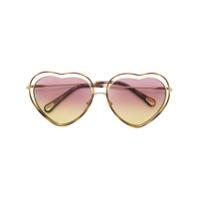 Chloé Eyewear Óculos De Sol Coração - Metálico