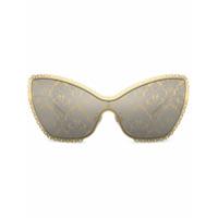 Dolce & Gabbana Eyewear Óculos De Sol Gatinho Com Estampa Barroca - Dourado