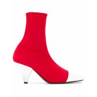 Neous Ankle Boot Com Contraste - Vermelho
