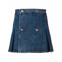Matthew Adams Dolan Saia Jeans Com Pregas - Azul