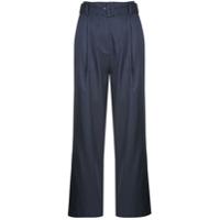 Fleur Du Mal Calça Pantalona Com Cinto - Azul