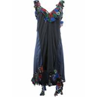 Sacai Vestido Assimétrico Com Aplicação Floral - Estampado