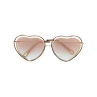 Chloé Eyewear Óculos De Sol 'heart' - Metálico
