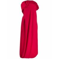 Poiret Vestido Tomara Que Caia Com Drapeado - Vermelho