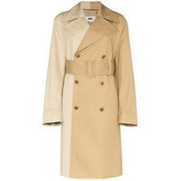Mm6 Maison Margiela Trench Coat Bicolor Com Aboamento Duplo - Marrom