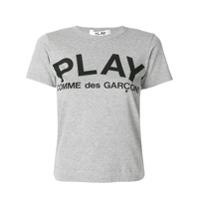 Comme Des Garçons Play Camiseta Com Estampa De Logo - Cinza