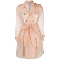 Red Valentino Trench Coat Point D'esprit Com Tule - Neutro