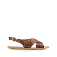 Ancient Greek Sandals Sandália Maria Com Efeito Pele De Cobra - Neutro