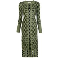 Temperley London Vestido De Tricô Com Padronagem - Green