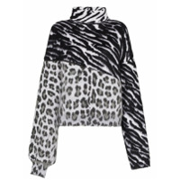 Unravel Suéter Com Estampa Animal Print - Preto