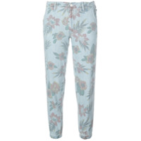 Mother Calça Cropped Floral - Azul