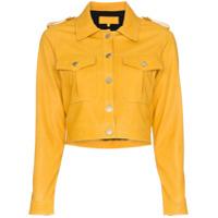 Skiim Jaqueta cropped de couro - Amarelo