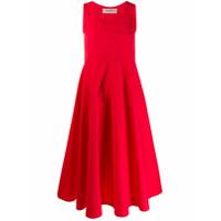 Blanca Vestido Decote U - Vermelho